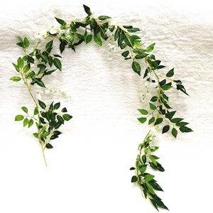 Image 4 - 8X 2 м белый искусственный Плющ из Вистерии, искусственные цветы, искусственная Цветочная Гирлянда Венок из винограда листьев, растительное растение, Декор для дома и улицы