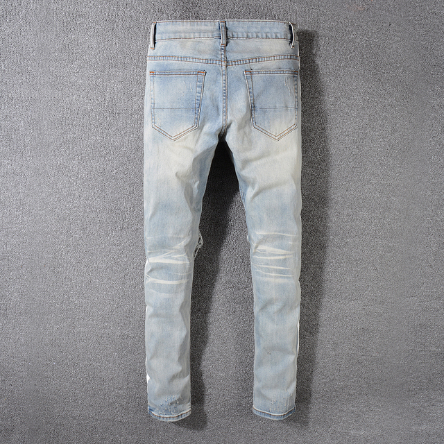 Sokotoo Men's vintage blue holes ripped stretch denim jeans Casual white stripe patchwork pants