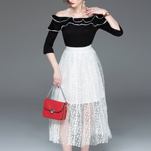 Midi Skirt Women 2019 Spring Summer New Fashion Solid Color Perspective Elastic Waist A-Line Casual Skirt Mid-Calf Length цена