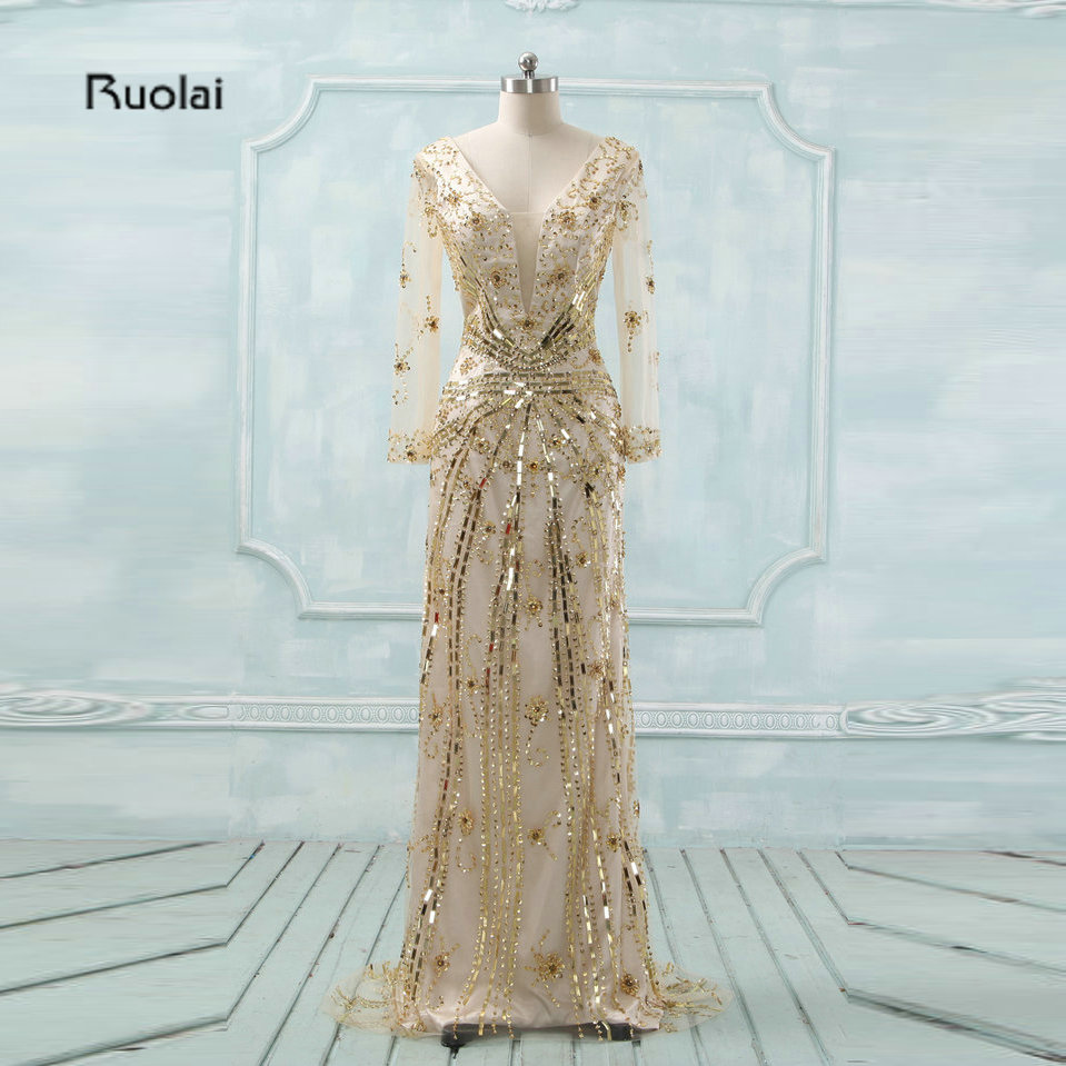 Arabic Luxury Evening Dress 2018 Long Sleeves V Neck Gold Sequins Dubai Evening Gowns for Women Prom Party Dress robe de soiree
