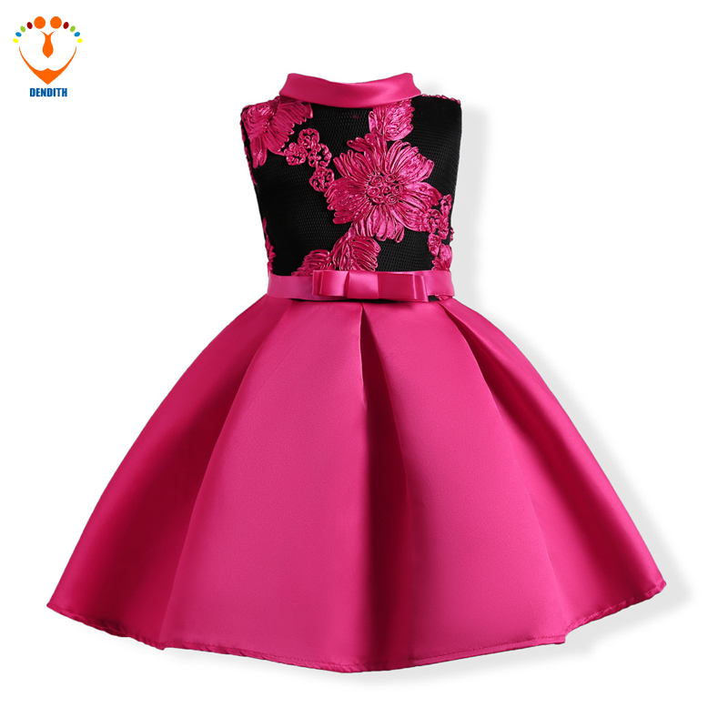 DENDITH Children Embroidery Princess Ball Gown Wedding Clothes baby Girls bow Dress Baby Girl Butterfly Birthday Party Dresses