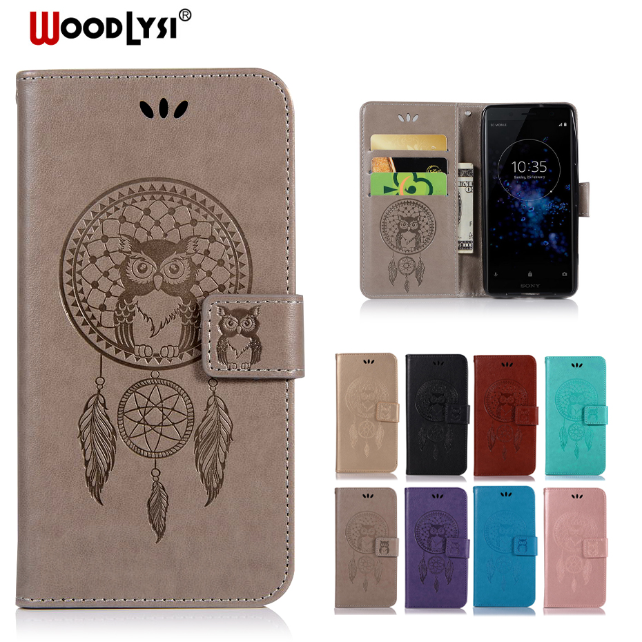 Woodlysi For Sony Xperia XZ2 Compact Phone Case For Sony Xperia XZ2 Shell Owl PU Leather Cover Stand Flip Book Cases Coque