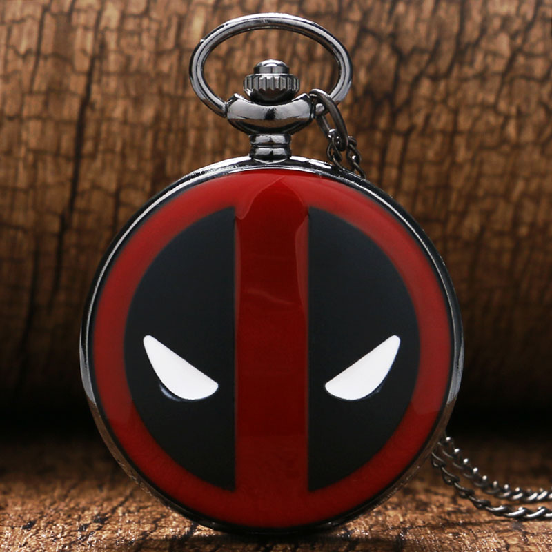 Deadpool Quartz Pocket Watch Movie Red Mask Analog Pendant Necklace Chain Vintage Mens Women Gift