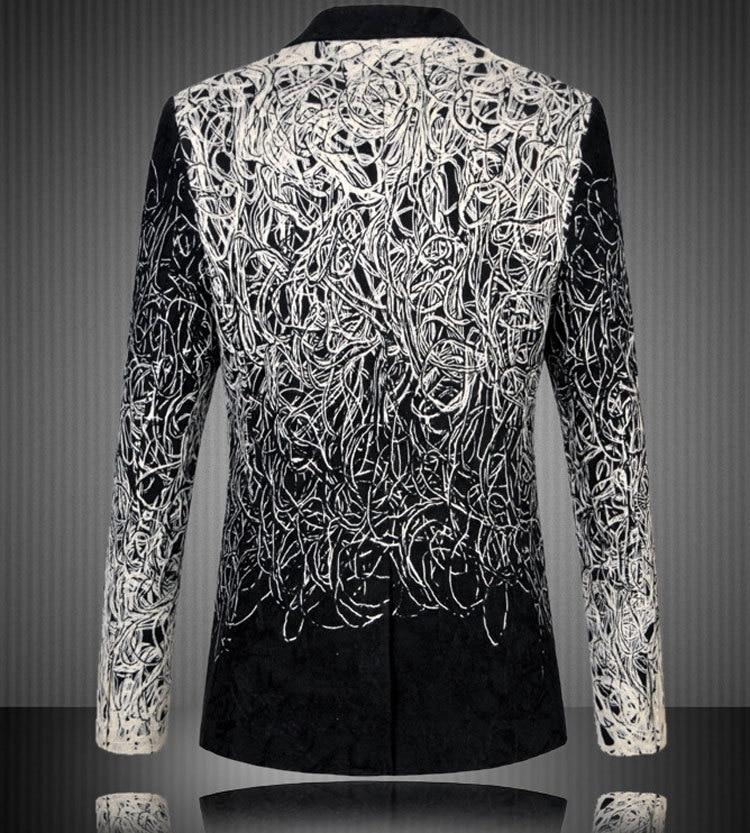 Blazer Men 2017 New Arrival Hook Line Mens Suit Jacket Brand Slim Fit Wedding Tuxedos Blazer Homme Men Stage Costumes for Singer
