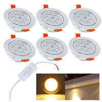 Dimmable 7W Warm White LED spot recessed light LED Ceiling Downlight recessed lamp Indoor Lighting Bedroom Hallway Kitchen