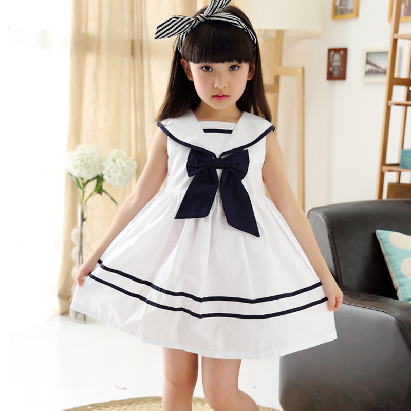 2015 Cute School Girl Bow Dress 3 4 5 6 7 8 9 10 11 12 13 -2703