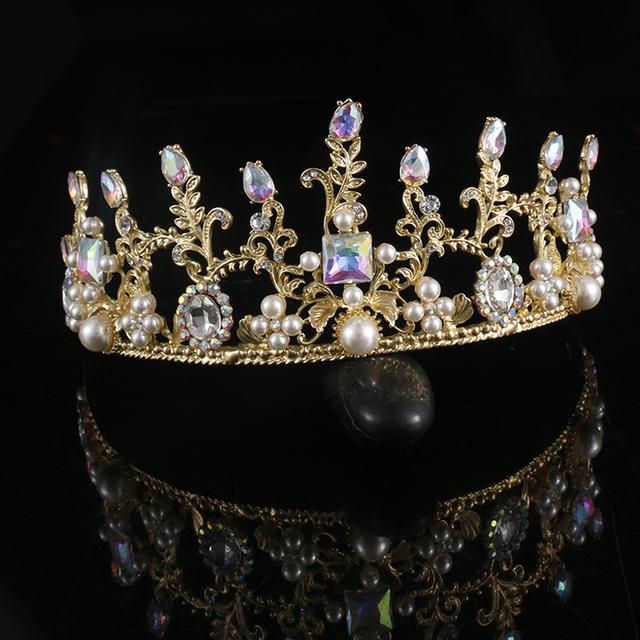 Barroco do vintage Princesa Rainha De Ouro De Casamento Tiaras E Coroas de Cristal Strass Pérola Noivas Acessórios Para o Cabelo Para A Noiva