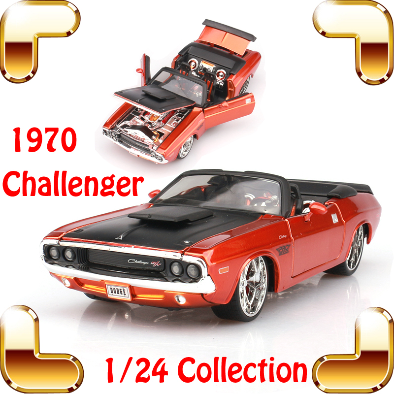New Year Gift 1970 Challenger 1/24 Metal Model Roadster Classic Car Alloy Model Scale Simulation Home Decoration Toys Present maisto jeep wrangler rubicon fire engine 1 18 scale alloy model metal diecast car toys high quality collection kids toys gift