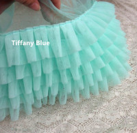 2yards 17cm White Tiffany Blue Light Pink Ruffled Lace Trim For Tutu Dress Free Shipping