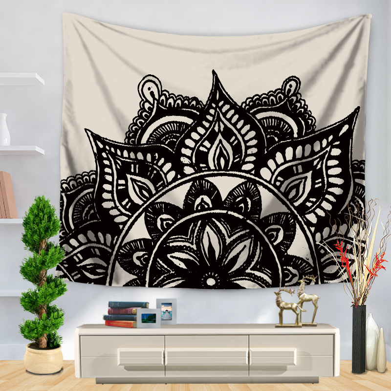 CAMMITEVER Table Cloths Indian Tapestry Black White Gray Blue Green Bohemian Tapestry Wall Hanging Mandala Towel Bedspread Shawl-in Tapestry from Home & Garden