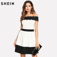 SHEIN Off The Shoulder Party Women Dress Black And White Short Sleeve Elegant Daisy Lace Applique