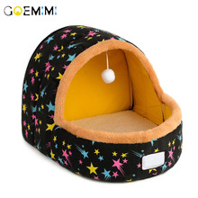 Warm Cat Cave Bed Dog House Autumn Winter Soft Plush Small Dogs Cats Home Nest Cute Pattern Kitten Puppy Kennel
