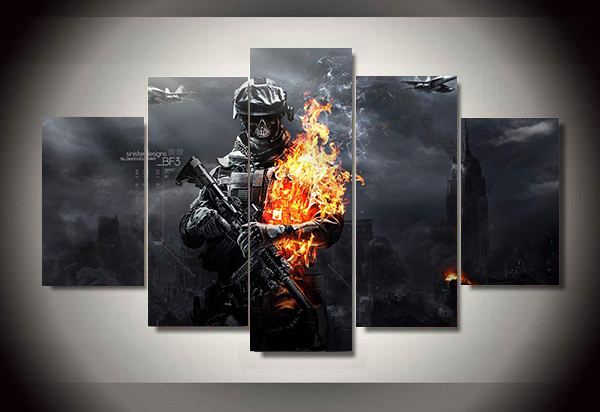 Unframed Printed skull battlefield soldier 5 piece painting wall art children's room decor poster canvas Free shipping