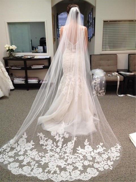 Exrea long 3 Meter flower Lace edge wedding veil/bridal veil/bridal accessories/head veil/tulle veil