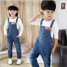 High quality New Autumn children boys and girls denim overall cotton pocket kids jean jumpsuit pants