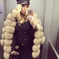 ПР стиль новый бренд лисы пальто с мехом для женщин Зимняя теплая одежда полосатый дизайн натуральный Лисий пальто с мехом с воротником