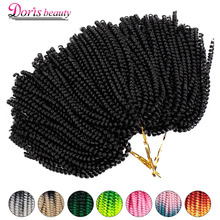 Spring Twist Hair Crochet Braids Ombre Braiding Hair 8 inch Synthetic Hair Extensions Braids Curly Twists Fluffy Rainbow color
