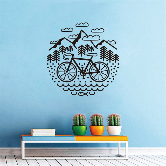 bicycle and mountains wall decal cycling bike vinyl wall sticker
