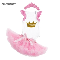 1 2 Year Birthday Party Outfits Pink Baby Tutu Skirt Puff Sleeve Bodysuit Crown Headband Set