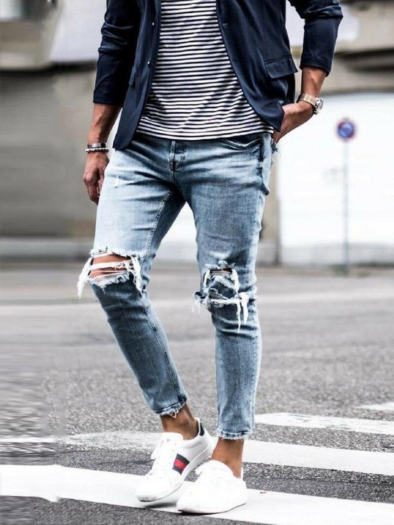 Новинка, обтягивающие джинсы для мужчин, уличная одежда, рваные джинсы, Homme, хип-хоп, Broken modis, мужские узкие байкерские штаны с вышивкой