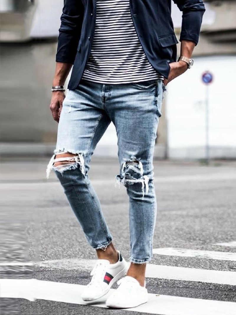 Neue Dünne Jeans männer Streetwear Zerstört Zerrissene Jeans Homme Hüfte Hop Gebrochen modis männlichen Bleistift Biker Stickerei Patch Hosen