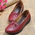 Alta calidad mujeres solos zapatos auténticos zapatos de trabajo de oficina de cuero zapatos mujer primavera enfermera flat mujer zapatillas de ballet mocasines