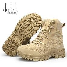 DUDELI-botas militares tácticas de combate para hombre, zapatos negros de cuero genuino, para caza, Trekking, Camping y montañismo, para invierno