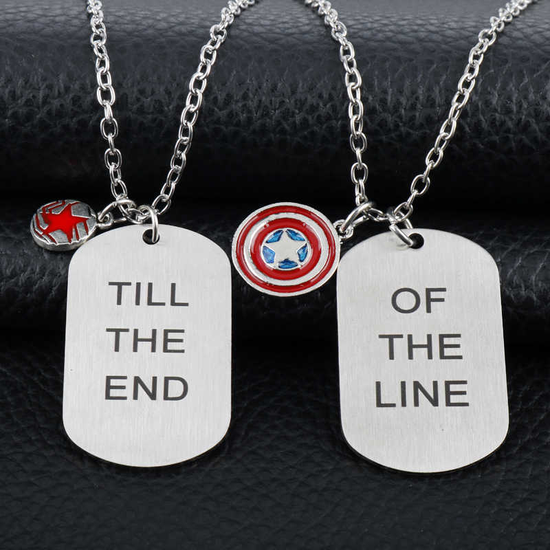 dongsheng Captain America Necklace Til The End of The Line Circle Tag Stainless Steel The Pentagram Shield Pendant For Fans -30