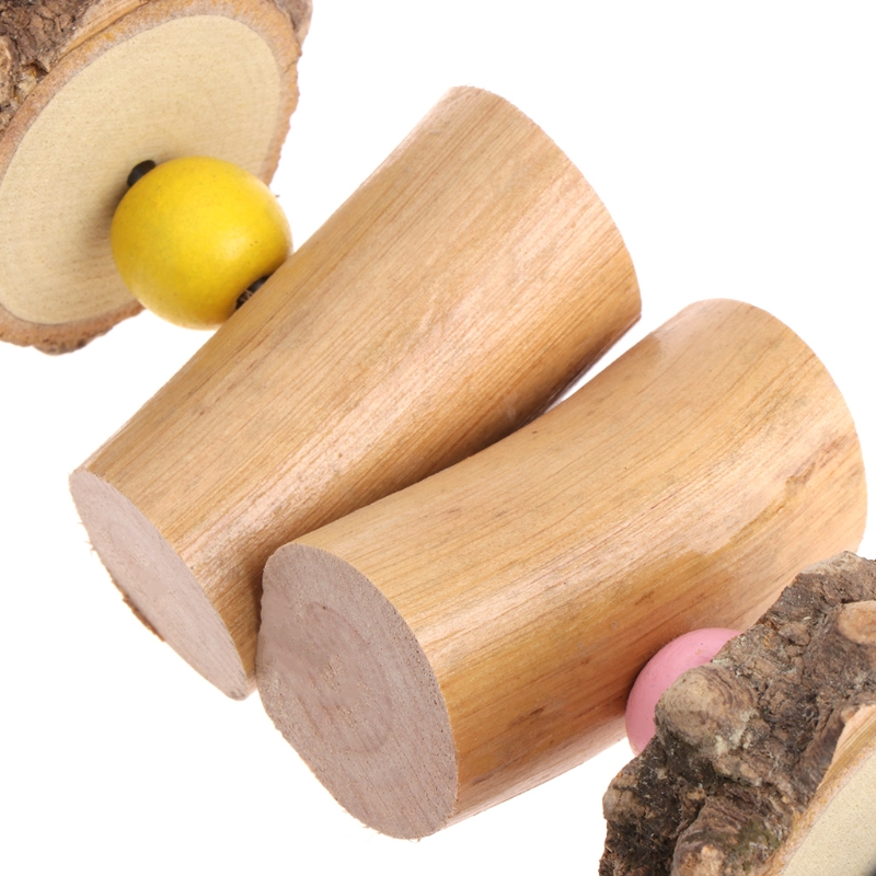 Parrot Toys Wooden Colorful Beads Bell For Bird Parakeet Chew Hanging Cage Grind