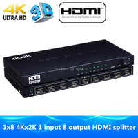 4K HDMI Splitter 1X8 port distributes 1 HDMI source to 8 HDMI displays simultaneously 3D Amplifier Distribution for 4K HDTV PS3