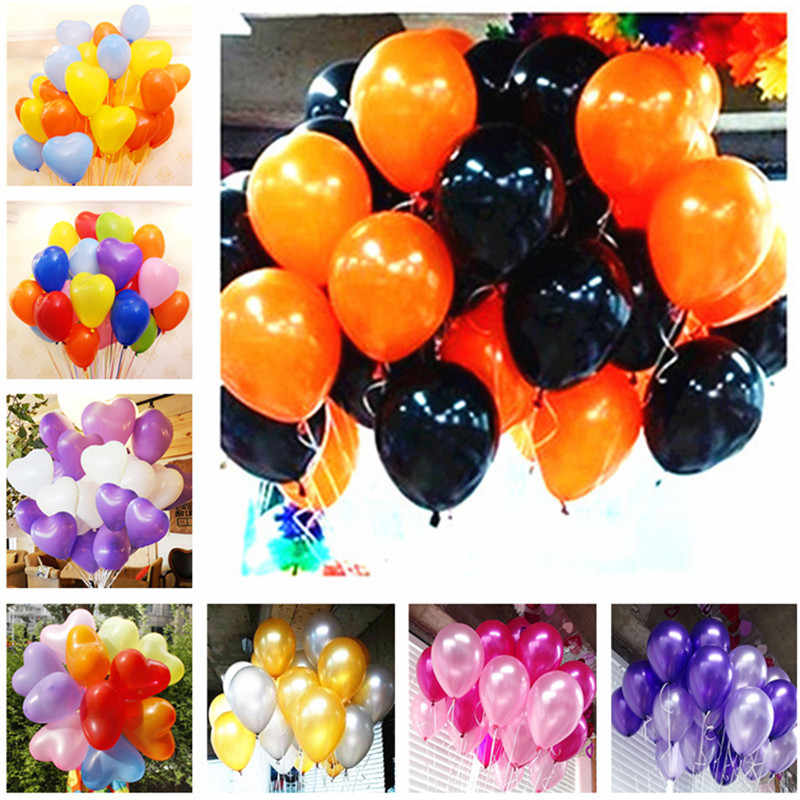 5pcs 10 Inch Black White Heart Latex Balloon Inflatable Air Balls Children Birthday Party Balloons Wedding Decoration Float Ball