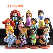 11pcs Disney Figures Princess Cinderella Belle Mermaid Ariel Sofia Snow White Fairy Rapunzel Action Doll 2DS06