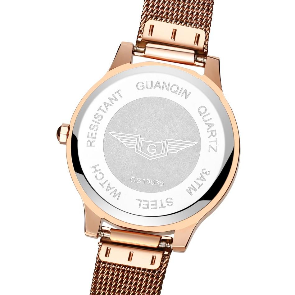 GUANQIN Women Watches Fashion Casual Quartz Watch Gold Women Bracelet Watch Stainless Steel Strap relogio feminino famous brand  (15)