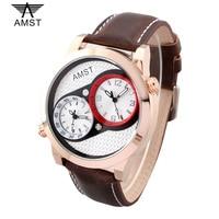 2017 AMST Brand 100M waterproof Creative Fashion Dual movement Men Watch Business Men's Quartz Watches Diver Wristwatches