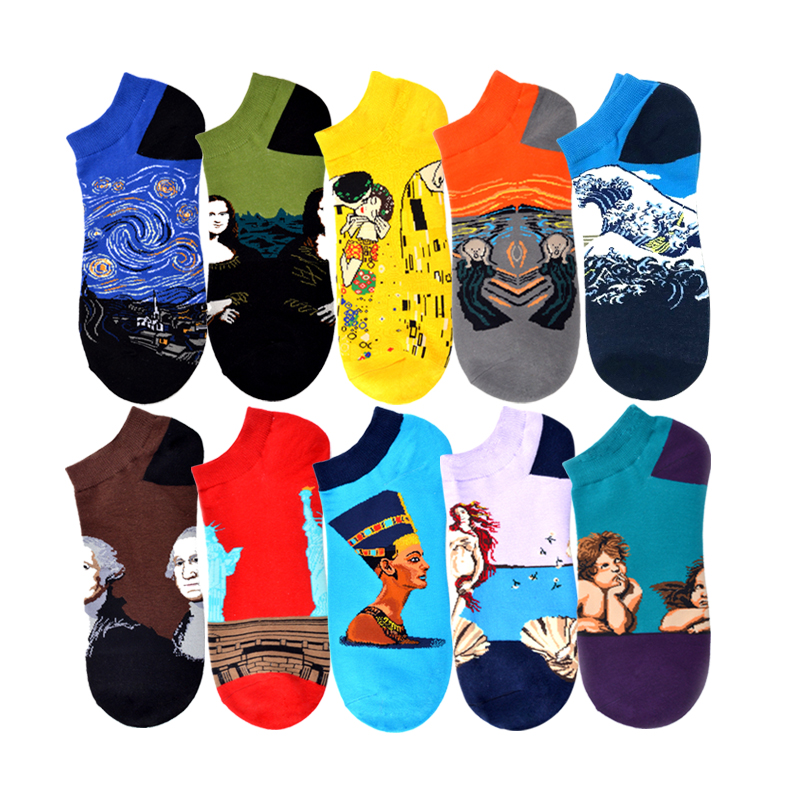 Van Gogh Art Socks Starry Night,Mona Lisa,The Scream Socks Renaissance Oil Paint Cotton Short Happy Funny Women Men Summer Socks