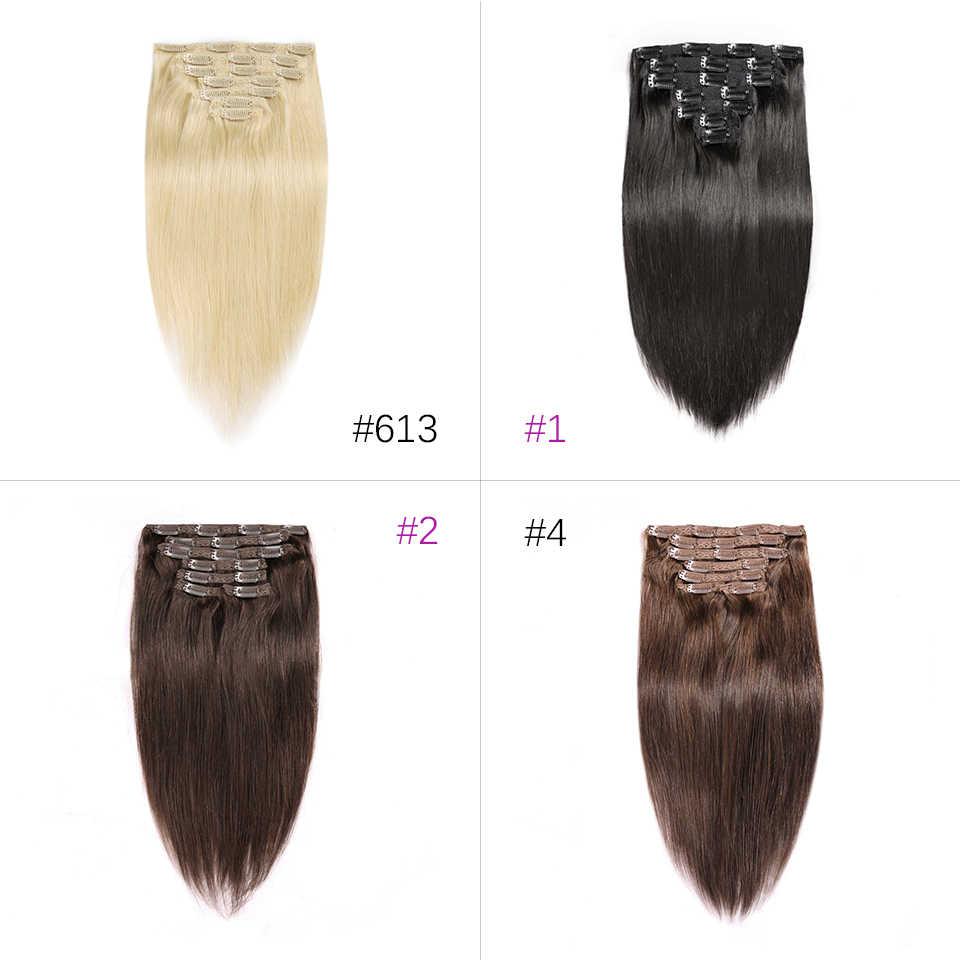 7A HJ WEAVE uroda klip w doczepy z ludzkich włosów prosto naturalny kolor 7 sztuk/zestaw Remy ludzki włos włosy 100G 14-22 Cal