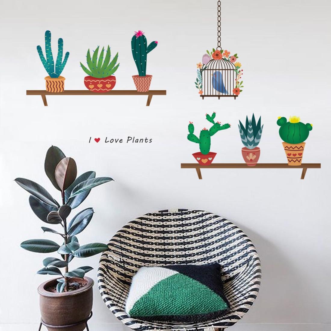 Красивый мультфильм Кактус клетка сад стиле гостиная Adesivo де Parede виниловые наклейки на стены