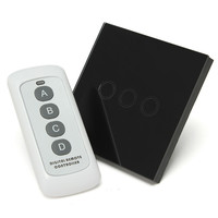Newest 0 02W 1 Way 3 Gang Crystal Glass Panel Smart Touch Light Wall Switch Remote