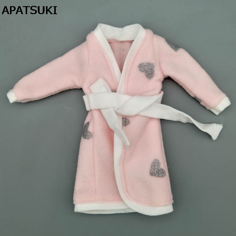 Pink Gray Heart Bathrobe For Barbie Doll Bathroom Suits Winter Pajama Wear Sleeping Casual Clothes For Barbie Play House Toys