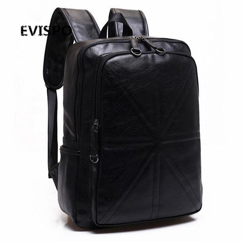 ФОТО EVISPO Oil Wax PU Leather Man Backpack Brand Travel Bag Business Laptop Men Bag Casual Large Men Shoulder Duffel Bags
