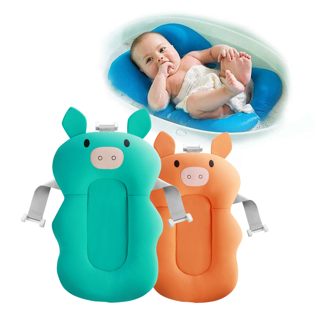 Non Slip Baby Bather and Portable Baby Bath Pad with Soft Air Cushion for Support during Shower