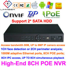 Lihmsek 8CH NVR POE พร้อม 8CH พอร์ต POE IEEE 802.3af/สวิทช์สนับสนุน 2 pcs พอร์ต HDD Erthernet เครือข่าย video Recorder