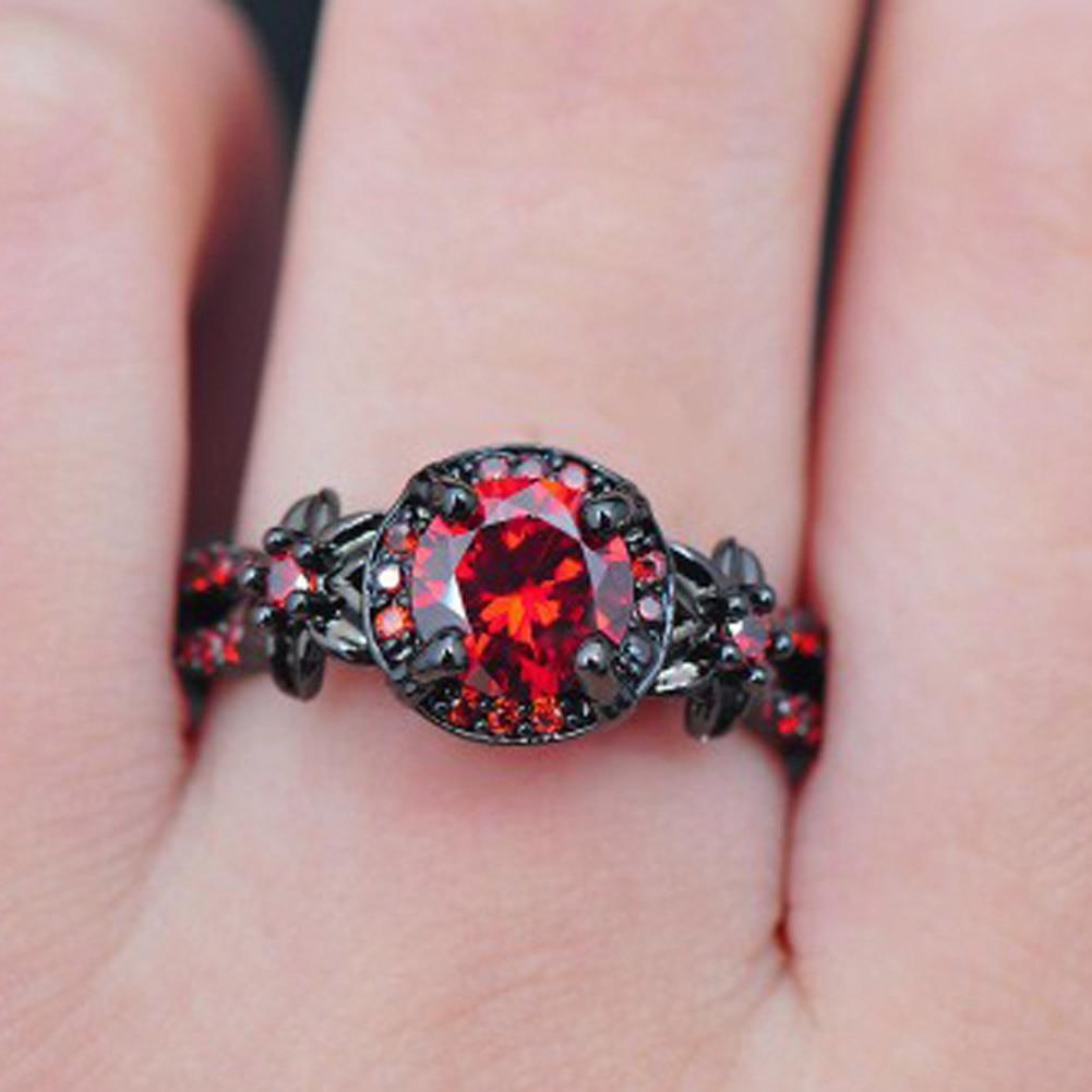 Fashion Flower Shiny Red Ring Red Garnet Women Charming Engagement ...