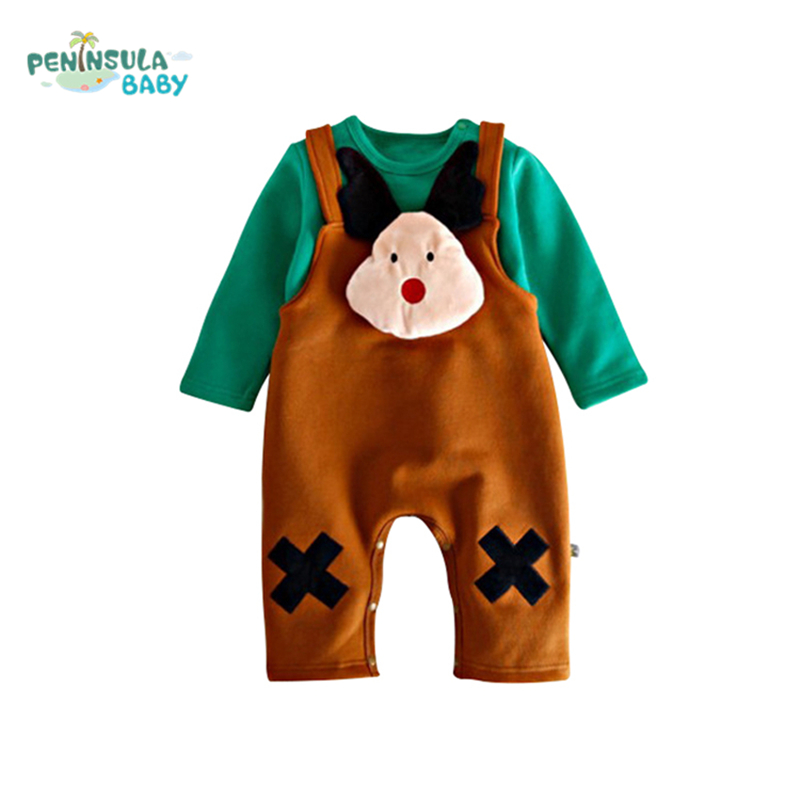 New Newborn Baby Overalls Autumn Winter Baby Girls Boys Rompers Cartoon Long Sleeves O-Neck Infant Toddler Tops+Pants 2PCS Set new baby kids autumn winter warm cotton beanie hat toddler girls boys caps cute baby cartoon bear ear beanies 1pc f011