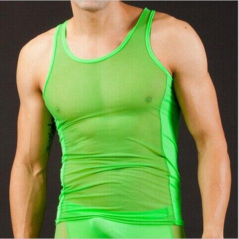 Free shippingMen Hollow New Nylon Sexy Transparent Vest Breathable   Tank     Top   5 colors S M L
