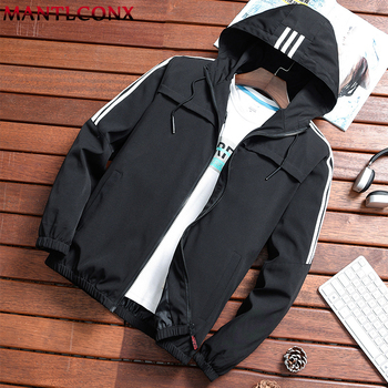MANTLCONX 2019 New Spring Summer Mens Fashion Outerwear Jacket Windbreaker Men's Thin Jackets Hooded Casual Sport Coat Big Size