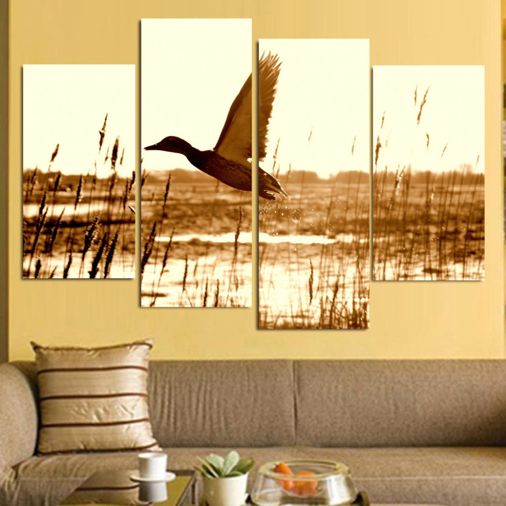 Brown Duck Fly Upon River Wall Art Canvas Prints Animal Pictures for ...