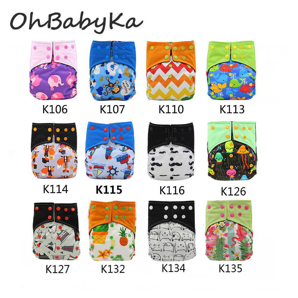 Ohbabyka Reusable AI2 Cloth Diaper Pocket Baby Nappy Cover Cloth Diaper Double Gusset Soft Breathable Washable Diapers 10Pack