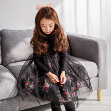 Filles Robe 2017 Automne Hiver Filles Robes Manches Longues Blanck et Blanc fleur Maille Conception Princesse Robe Vêtements Pour Enfants