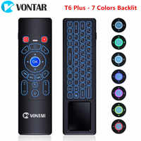 Air mouse 2.4G Wireless keyboard English Russian T6 Plus 7 Colors Backlit Touchpad Remote Control for Android TV Box Projector